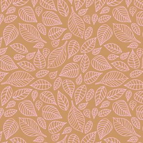 Little autumn leaves boho garden scandinavian vintage outline leaf design pink on caramel