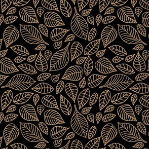 Little autumn leaves boho garden scandinavian vintage outline leaf design gold on black