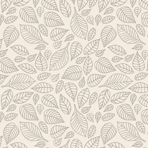 Little autumn leaves boho garden scandinavian vintage outline leaf design in latte beige brown on ivory