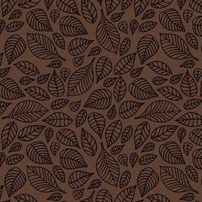 Little autumn leaves boho garden scandinavian vintage outline leaf design in black on chocolate brown