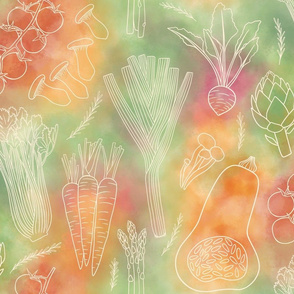 Vegetables and herbs watercolour