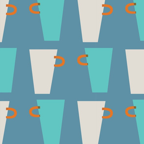 blue and beige cups pattern