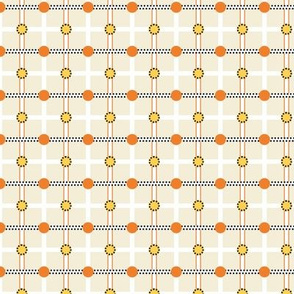 Check and Dots beige, yellow, orange