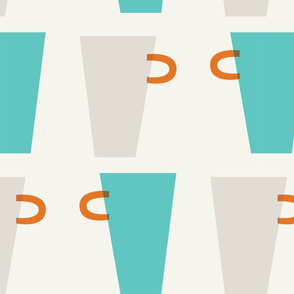 beige and green cups pattern