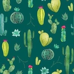 watercolor cacti (teal)