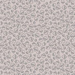 Mushroom field boho autumn garden fall design freehand outline baby nursery design gray on beige SMALL