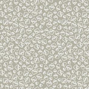 Mushroom field boho autumn garden fall design freehand outline baby nursery design white on gray green SMALL