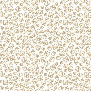 Mushroom field boho autumn garden fall design freehand outline baby nursery design caramel ochre on white SMALL