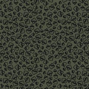 Mushroom field boho autumn garden fall design freehand outline baby nursery design black on cameo green SMALL