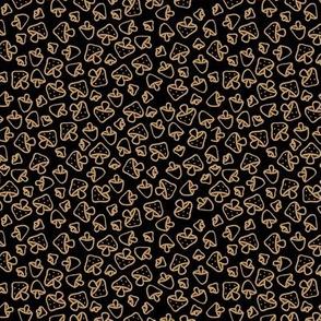 Mushroom field boho autumn garden fall design freehand outline baby nursery design caramel gold on black SMALL