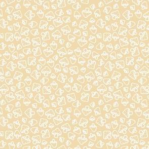 Mushroom field boho autumn garden fall design freehand outline baby nursery design white on butter yellow SMALL
