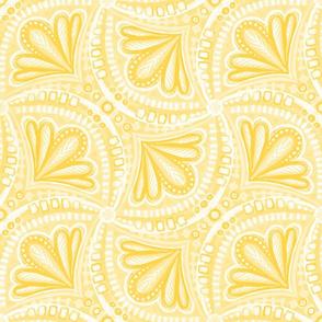Mustard Yellow and Buttercream Textured Fan Tessellations