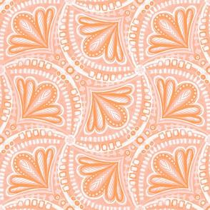 Peach Pink and Papaya Monochrome Textured Fan Tessellations