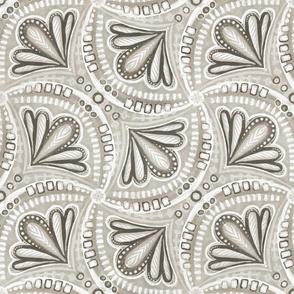 Neutral Beige Brown Monochrome Textured Fan Tessellations