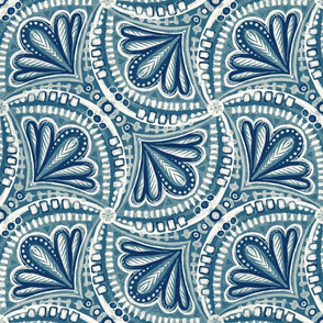 Dark Blue, Teal and Off White Textured Fan Tessellations