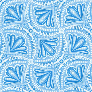 Blue and White Monochrome Textured Fan Tessellations