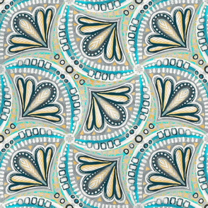 Cyan, Grey and Mustard Textured Fan Tessellations