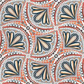 Red, White, Orange and Indigo Textured Fan Tessellations
