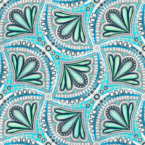 Textured Fan Tessellations in Mint and Cyan