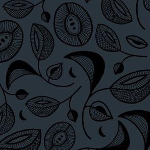 Magic botanical garden moon and blossom winter night texture black on stone blue