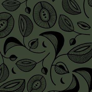 Magic botanical garden moon and blossom winter night texture black on cameo green