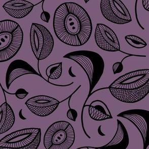 Magic botanical garden moon and blossom winter night texture black on purple