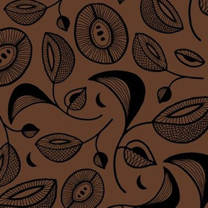 Magic botanical garden moon and blossom winter night texture black on warm chocolate brown