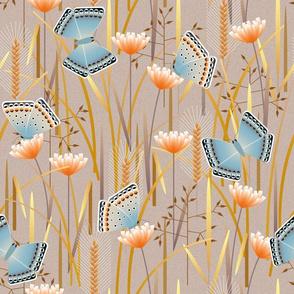 butterflies in grass - large