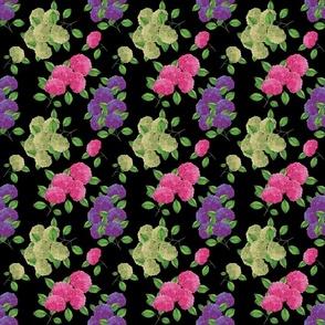 Pink hydrangea flowers (black)