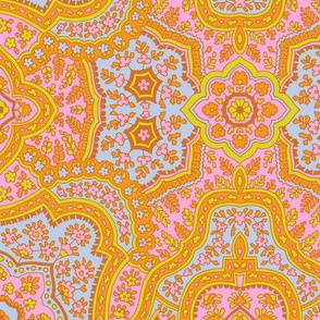 Coral Paisley-Traditional Orange Paisley-Baby Blue Pink Green Olive Large Scale