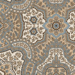 Coral Paisley-Traditional Taupe Paisley-Grey Blue Dark Coffee Cream Large Scale
