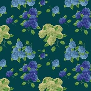 Blue hydrangea flowers (dark teal)