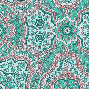 Coral Paisley-Traditional Teal Paisley-Dark Teal Light Pink Light Rose Large Scale