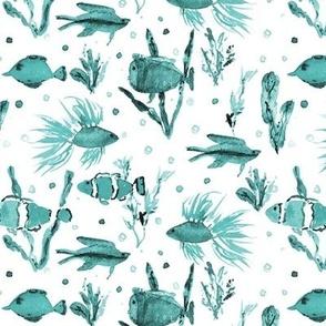 Emerald Maldives underwater life - watercolor ocean fish - summer sea marine vibes a351-10
