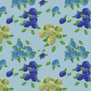 Blue hydrangea flowers (pastel blue)
