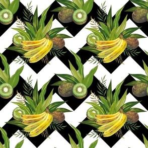 Bananas kiwis and leafs (zigzag)