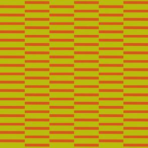 binding stripes, green-red orange