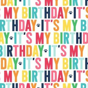 paws its my birthday rainbow with navy UPPERcase