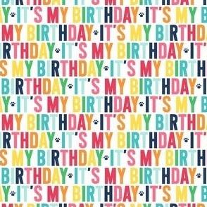 paws its my birthday XSM rainbow with navy UPPERcase