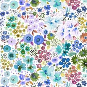 Spring Garden flowers Blue