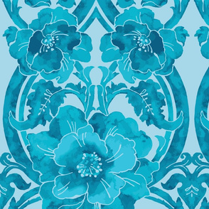 Watercolor Poppy Floral Damask Aqua-Watercolor Fortuny Pattern-Large Scale