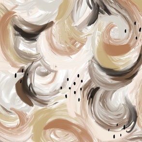 Painted Joy in neutrals.. abstract brown black