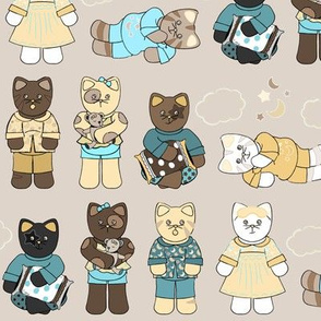 Cats Pajamas Teal Yellow
