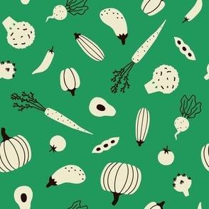 Veggies on green