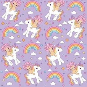 Afro Cat Rainbows & Unicorns Lilac