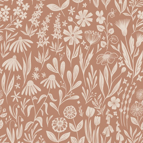Wildflowers - sienna - medium scale