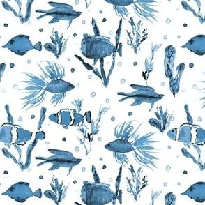 Maldives underwater life in teal - watercolor ocean fish - summer sea marine vibes a351-11