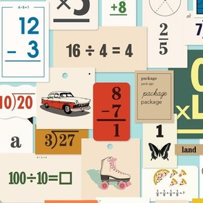 Flash Cards* (Polymer) || back to school teacher classroom learning math numbers butterfly roller skate car dog clock map vintage ephemera telephone collage paper