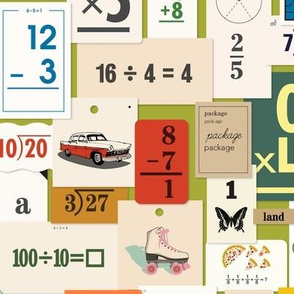 Flash Cards* (Split Pea Soup) || back to school teacher classroom learning math numbers butterfly roller skate car dog clock map vintage ephemera telephone collage paper