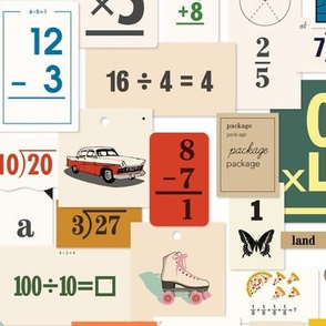 Flash Cards* || back to school teacher classroom learning math numbers butterfly roller skate car dog clock map vintage ephemera telephone collage paper